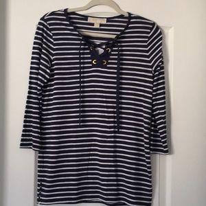 NWT Michael Kors Navy & White stripe top ¾ sleeves